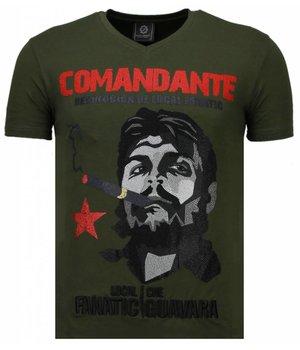 Local Fanatic Che Guevara Comandante Rhinestone - T Shirt Herr - 5781G - Grön