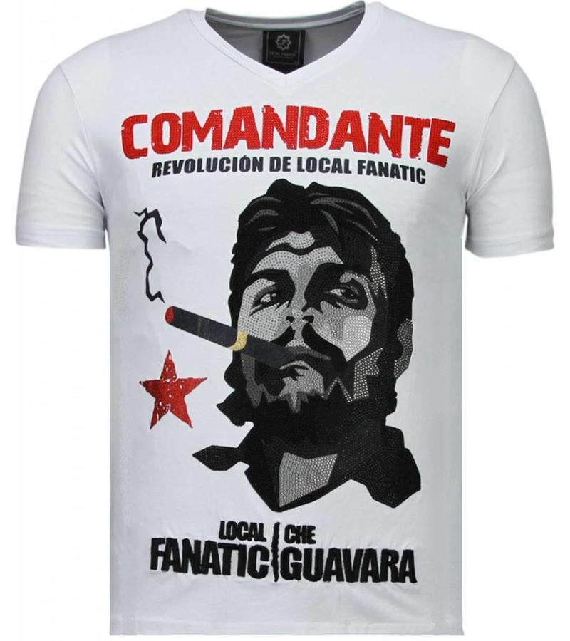 Local Fanatic Che Guevara Comandante Rhinestone - Herr T Shirt - 5781W - Vit