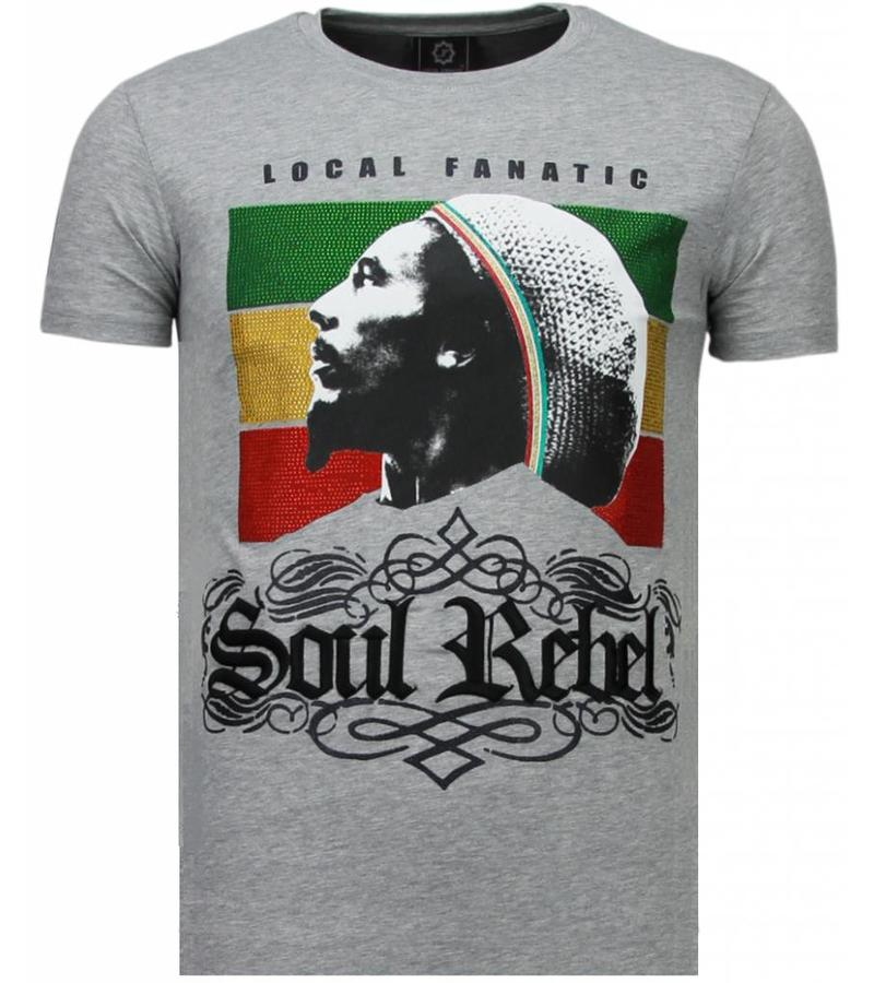 Local Fanatic Soul Rebel Bob Rhinestone - T Shirt Herr - 5778G - Grå