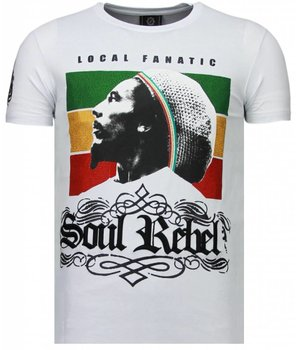 Local Fanatic Soul Rebel Bob Rhinestone - Herr T Shirt - 5778W - Vit