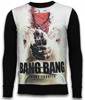 Local Fanatic Monroe Bang Bang Rhinestone - Sweatshirt Herr - 6034Z - Svart