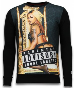 Local Fanatic Parental Advisory - Rhinestone Sweater - Zwart