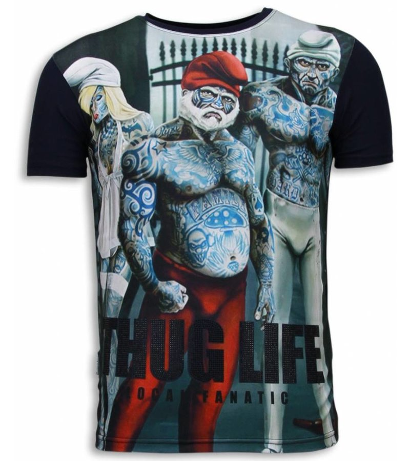 Local Fanatic Thug Life Rhinestone - Herr T Shirt - 5967 - Marinblå
