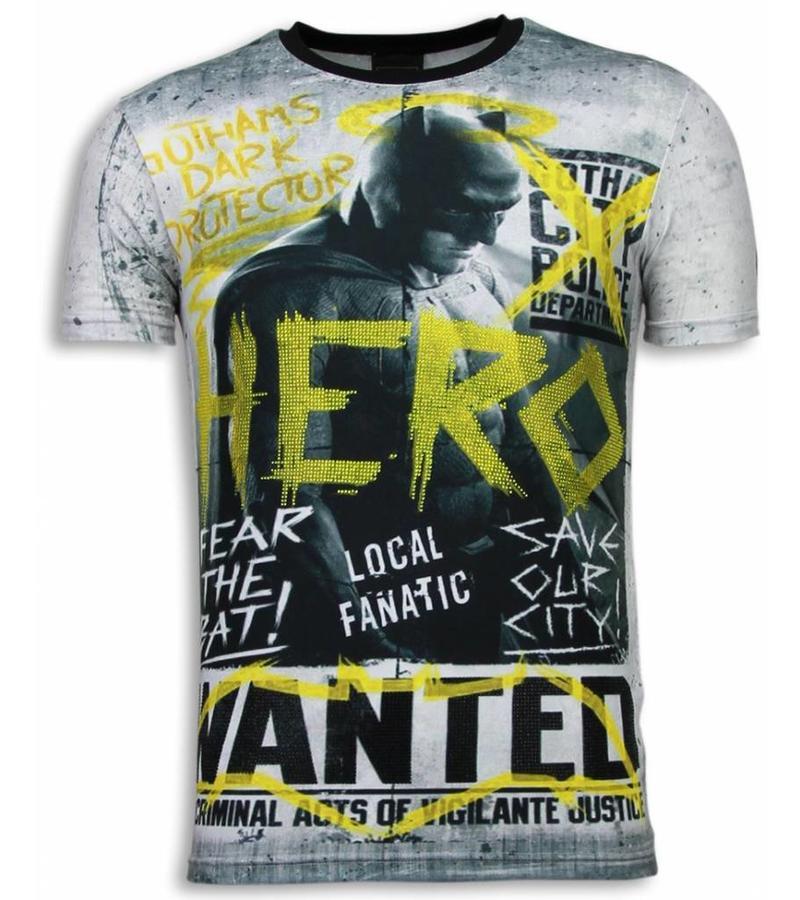 Local Fanatic Wanted Gothams Hero - Herr T Shirt - 5968 - Grå