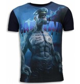 Local Fanatic Captain Sailor Man Rhinestone - Herr T Shirt - 5973 - Marinblå