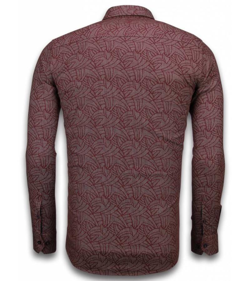 Gentile Bellini Mönstrad skjorta till kostym - Herr skjorta med ståkrage - 2033 - Bordeau