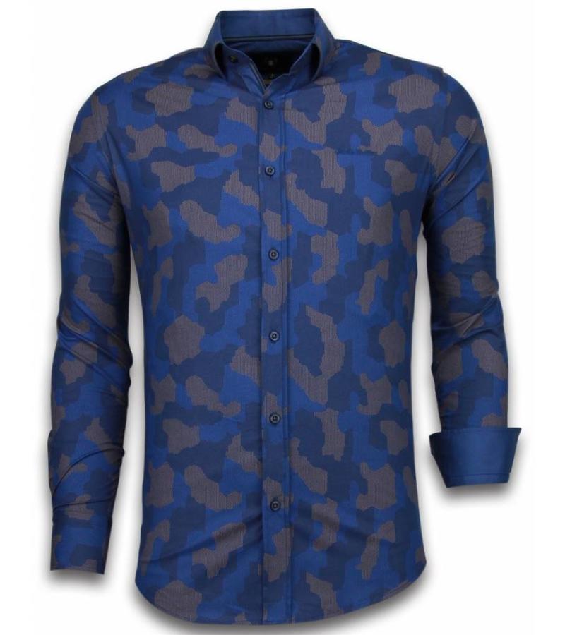 Gentile Bellini Prickig herrskjorta - Herrs kjorta slim fit - 2041 - Blå