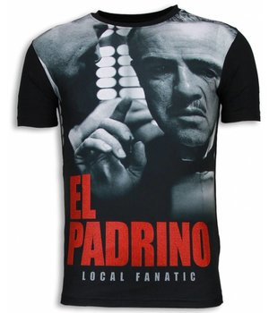Local Fanatic El Padrino Face - Digital Rhinestone T-shirt - Zwart