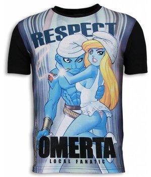 Local Fanatic Respect Omerta Rhinestone - Herr T Shirt - 6166 - Svart