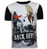 Local Fanatic Back Off Digital Rhinestone - Herr T Shirt - 6170 - Svart