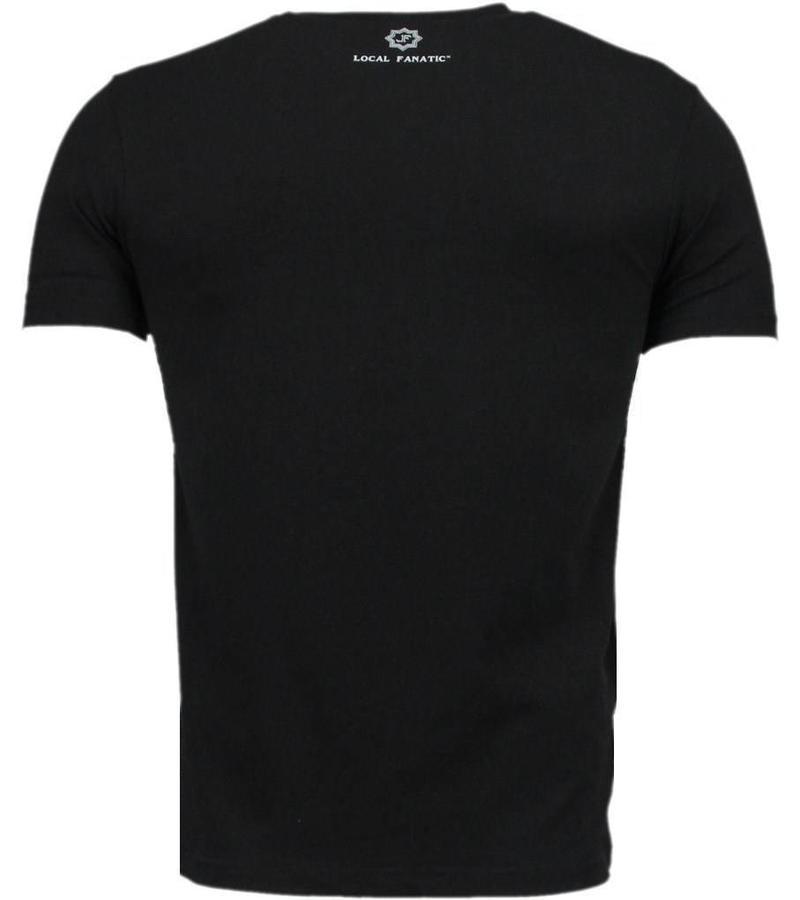 Local Fanatic Rockstar Print 3D Rhinestone - Herr T shirt - 6164Z - Svart