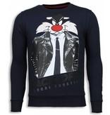 Local Fanatic Pussy Cat Rhinestone Sweater - Tröjor Män - 5914B - Blå