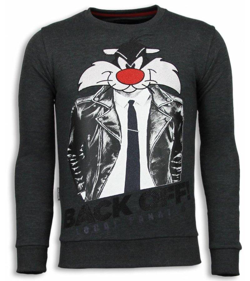 Local Fanatic Pussy Cat Rhinestone Sweater - Tröjor Herr - 5914A - Stenkol