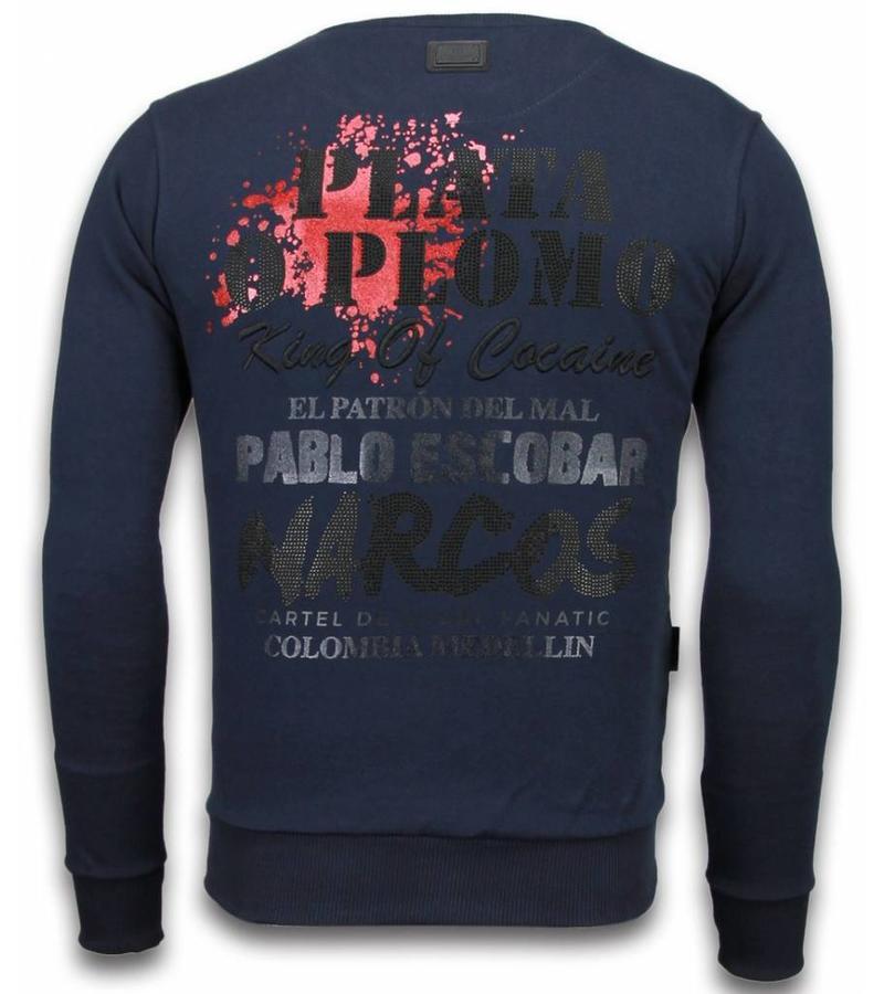 Local Fanatic Pablo Escobar Rhinestone  - Herr Tröja - 5917B - Blå