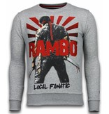 Local Fanatic Rambo Rhinestone Sweater - Man Tröja - 5910A - Grå