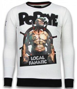Local Fanatic Popeye - Rhinestone Sweater - Wit