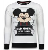 Local Fanatic State Prison Bad Mouse Rhinestone - Herrtröjor - 6080W - Vit