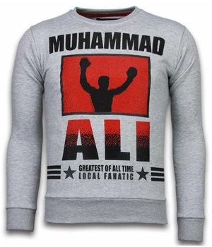 Local Fanatic Muhammad Ali - Rhinestone Sweater - Grijs