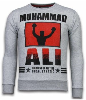 Local Fanatic Muhammad Ali Rhinestone - Sweater Herr - Grå
