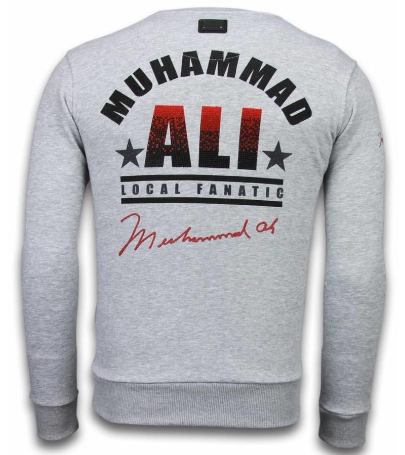 Local Fanatic Muhammad Ali Rhinestone - Sweater Herr - Grå
