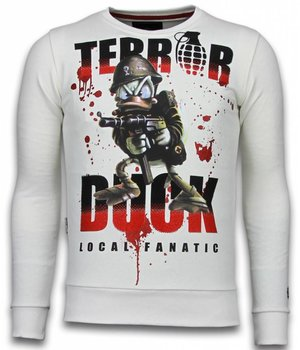 Local Fanatic Terror Duck  Rhinestone Sweater - Män Tröjor - 6173W - Vit