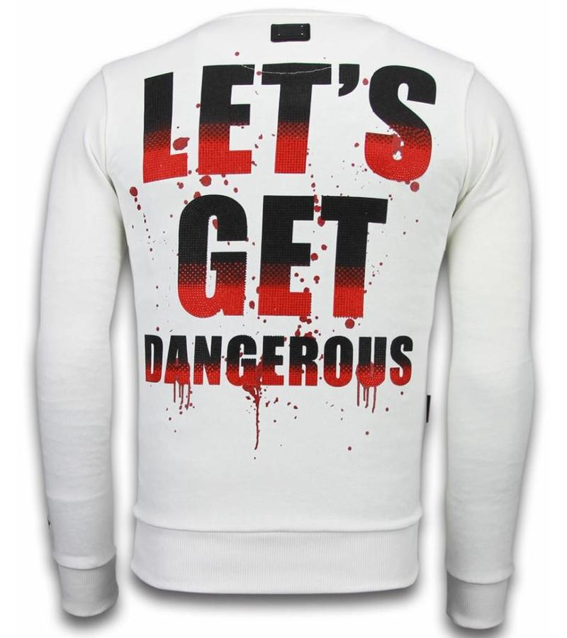 Local Fanatic Terror Duck  Rhinestone Sweater - Män Tröjor - 6173W - Vit
