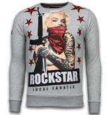 Local Fanatic Marilyn Rockstar Rhinestone - Man Tröja - 6006G - Grå