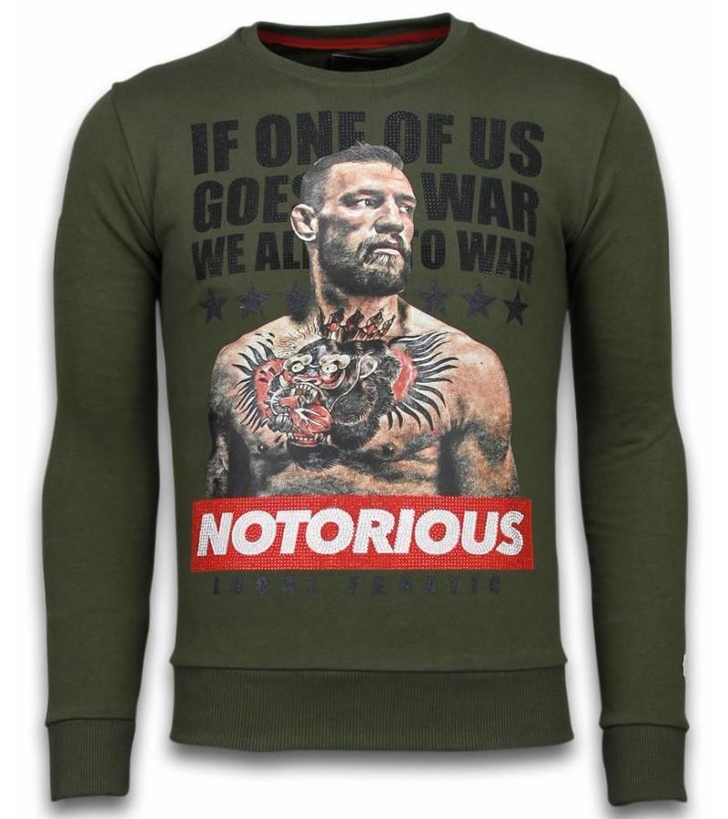 Local Fanatic Conor McGregor Rhinestone - Sweater Herr - 5913GR - Grön