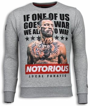 Local Fanatic Conor McGregor Rhinestone - Herr Sweater - 5913G - Grå