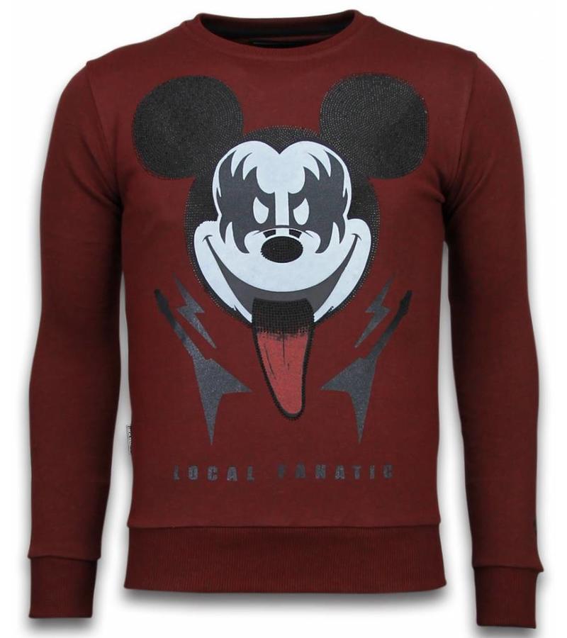 Local Fanatic Kiss My Mickey Rhinestone - Sweatshirt Herr - 5912B - Bordeaux