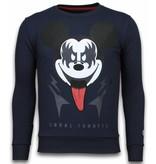 Local Fanatic Kiss My Mickey Rhinestone - Herr Sweatshirt - 5912N - Mörkblå