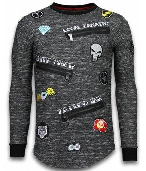 Local Fanatic Longfit Embriordry - Sweater Patches - Elite Crew - Grijs