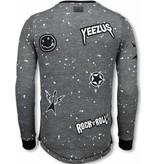 Local Fanatic Longfit Patches Rockstar -Herr  Sweater - LF-103/2A - Stenkol