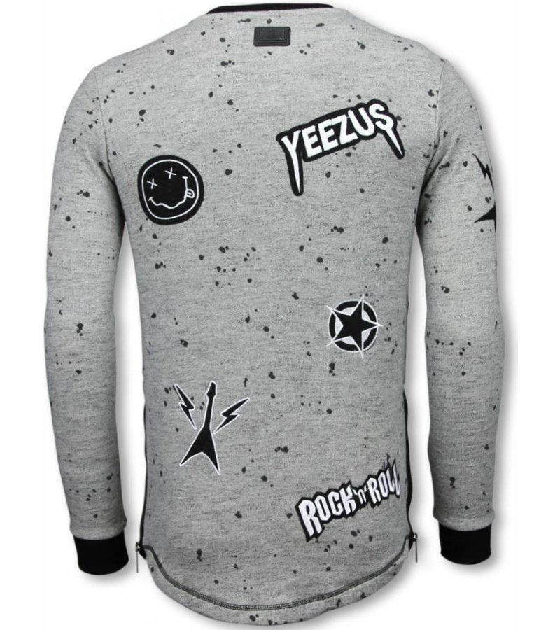 Local Fanatic Longfit Patches Rockstar - Sweater Herr - LF-103/2G - Grå