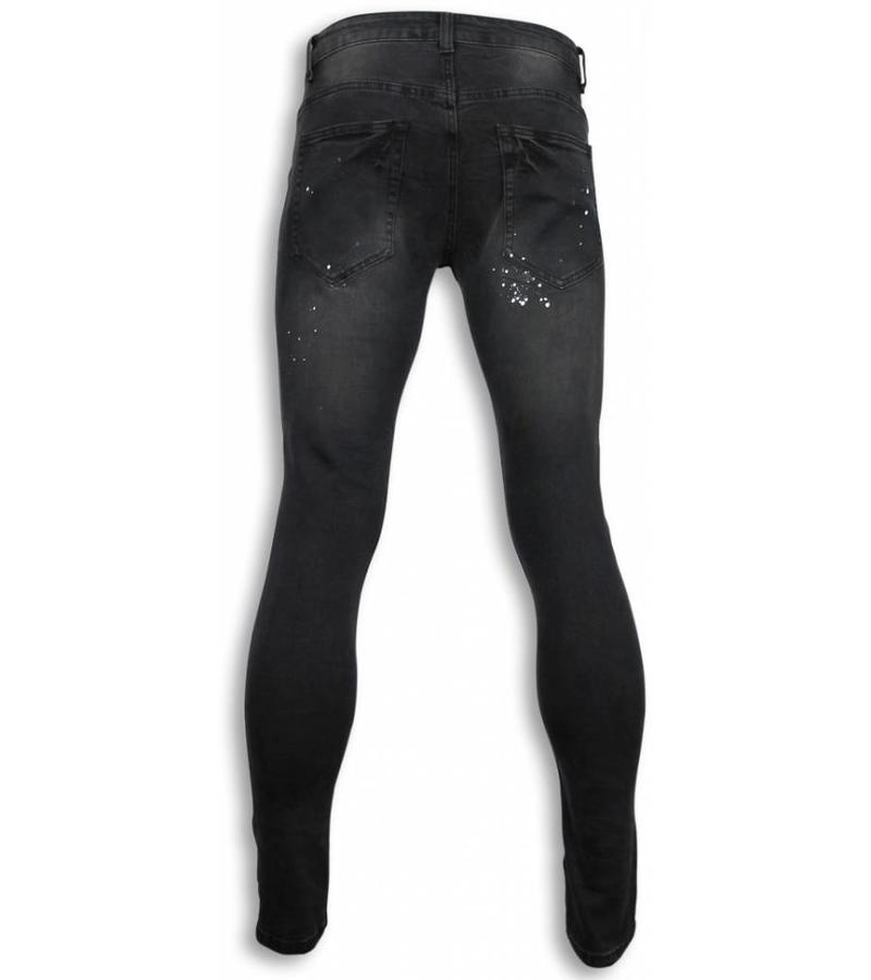 New Stone Märkesjeans billigt - Svarta jeans herr hål - ZS809 - Svart