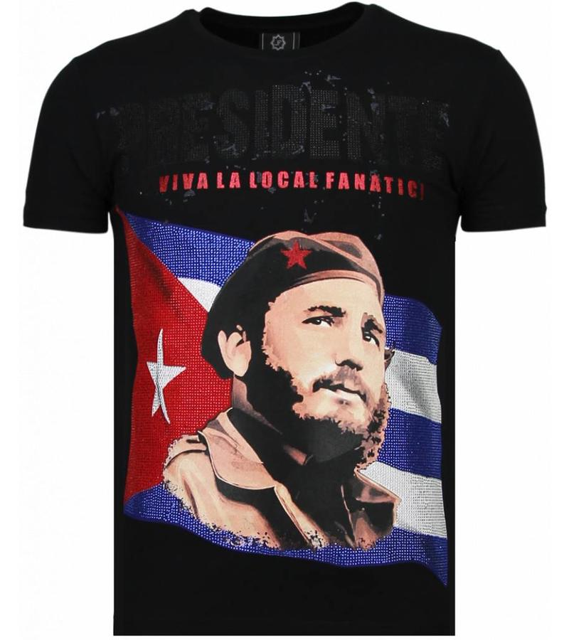 Local Fanatic Presidente Rhinestone - Man T Shirt - 5900Z - Svart