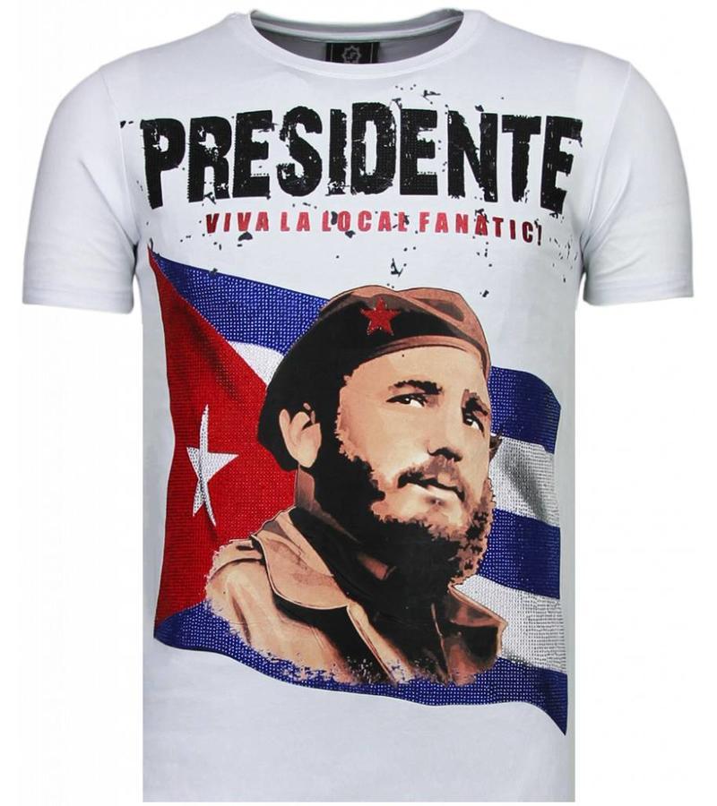 Local Fanatic Presidente Rhinestone - T Shirt Herr - 5900W - Vit
