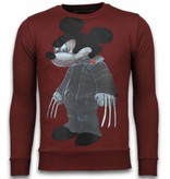 Local Fanatic Bad Mouse Smoking Rhinestone - Herrtröjor - 6174B - Bordeaux