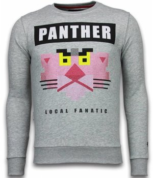 Local Fanatic Panther - Rhinestone Sweater - Grijs