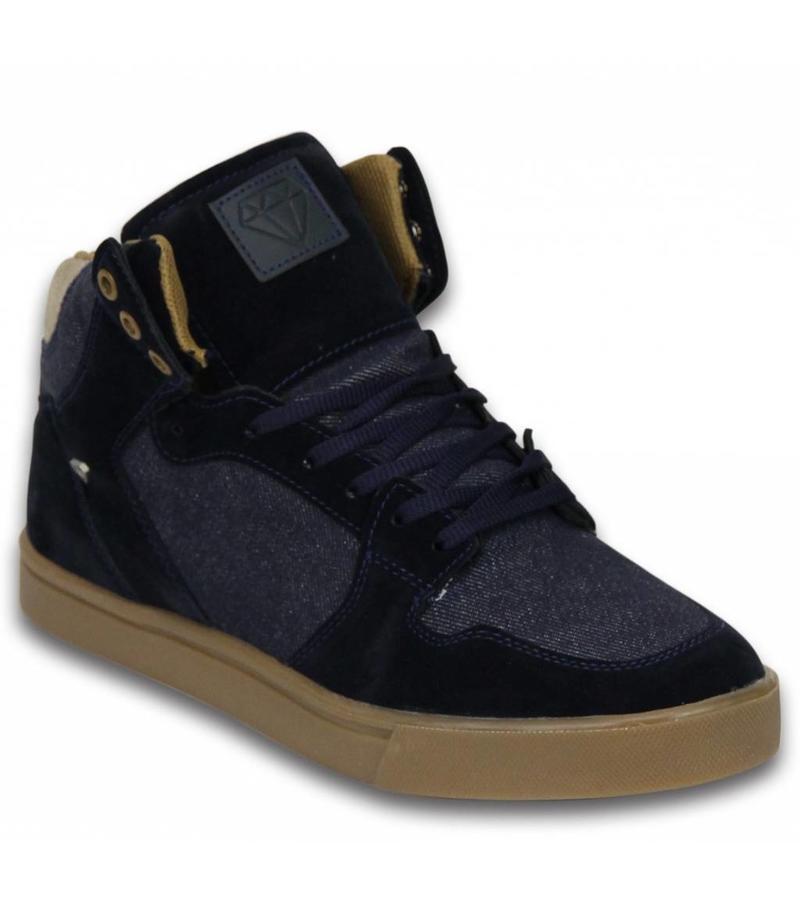 Cash Money Snygga Skor För killar - Herr Sneakers  High Denim - Marinblå