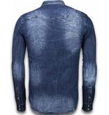 Enos Jeansskjorta slim fit - Mörk jeansskjorta - 9812B - Blå