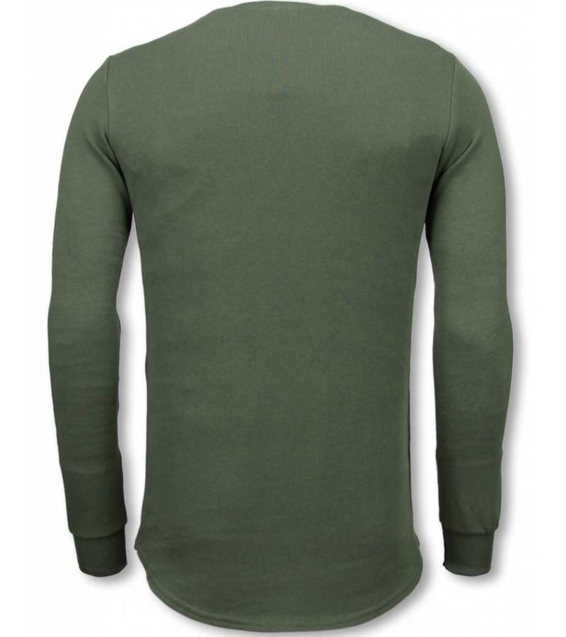 Uniplay Longfit Sweater Damaged Look - Tröja Man - UP-T117G - Grön