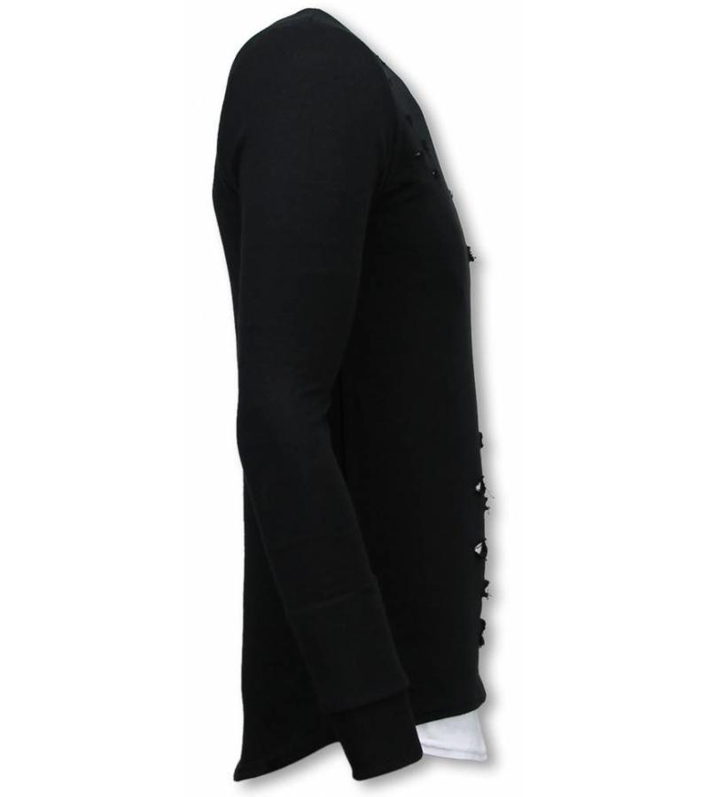 Uniplay Longfit Sweater Damaged Look - Herr Tröja - UP-T117Z - Svart