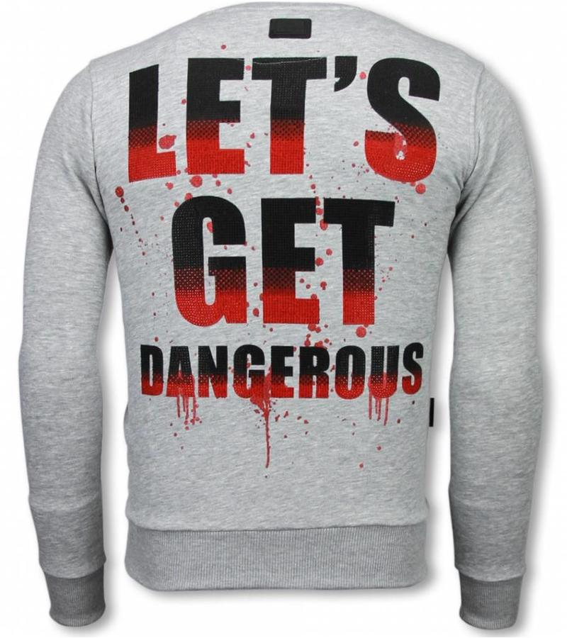 Local Fanatic Terror Duck  Rhinestone Sweater - Tröjor Män - 6173G - Grå