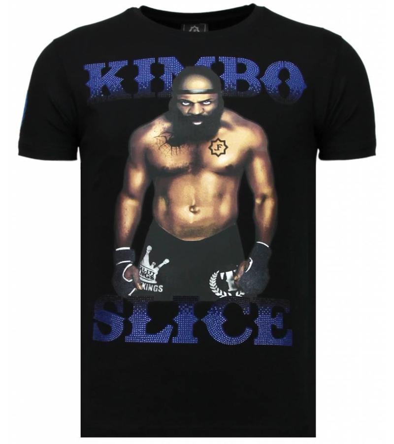 Local Fanatic Kimbo Slice Rhinestone - Man T shirt  - 5766Z- Svart
