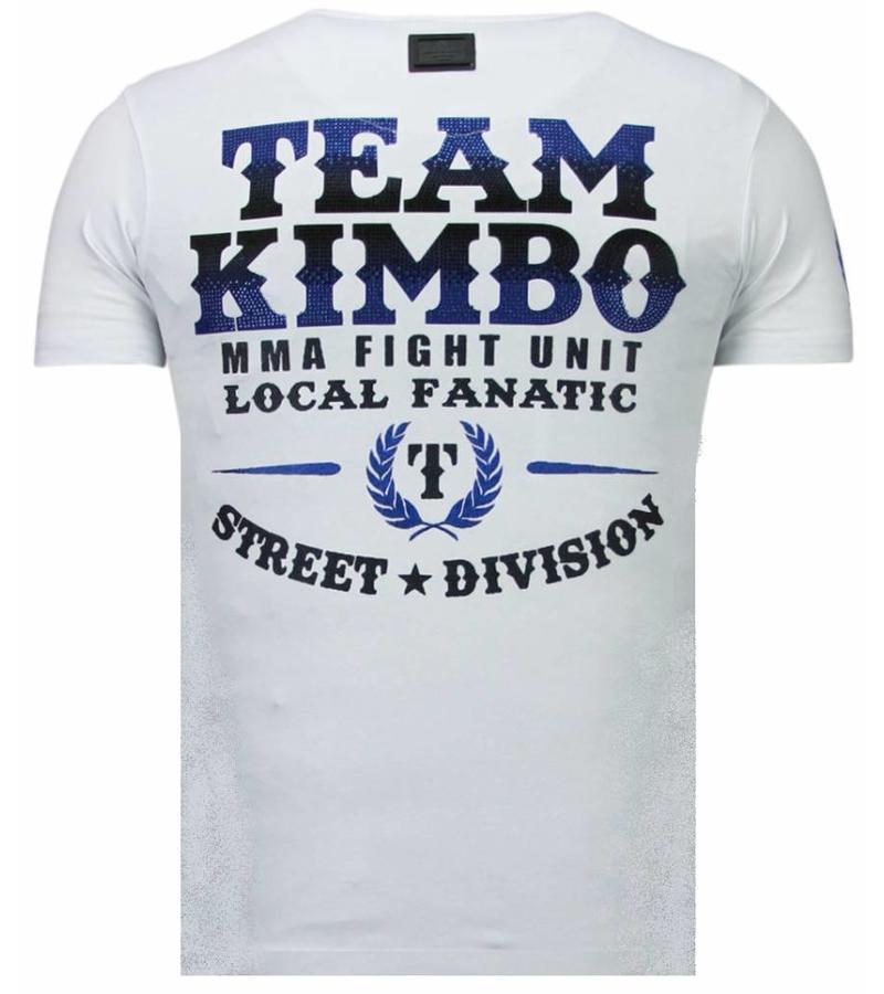 Local Fanatic Kimbo Slice Rhinestone - Herr T Shirt - 5766W - Vit
