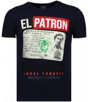 Local Fanatic El Patron Narcos Billionaire - T shirt Herr - 5783B - Blå