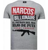 Local Fanatic El Patron Narcos Billionaire - T shirt Herr - 5783G - Grå