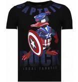 Local Fanatic Captain Duck Rhinestone - Man T Shirt - 6007Z - Svart