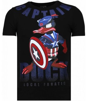 Local Fanatic Captain Duck Rhinestone - Man T Shirt - 6007Z - Svart